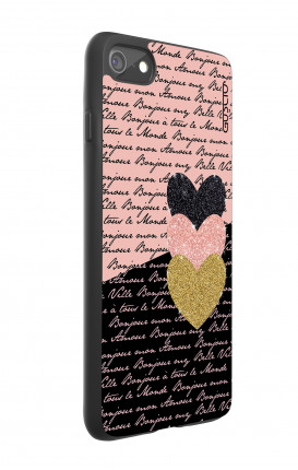 Cover Bicomponente Apple iPhone 7/8 - Scritte e Cuori rosa nero