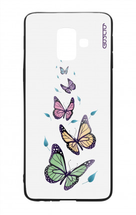 Samsung J6 2018 WHT Two-Component Cover - WHT Butterflies&Leaves