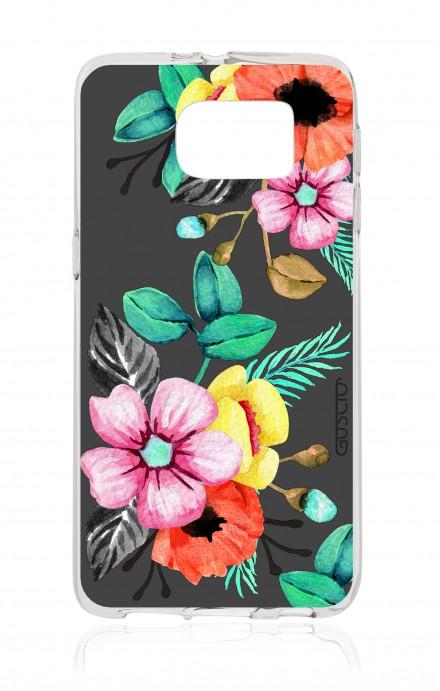 Cover TPU Samsung Galaxy S7 - Bouquet grigio fumo