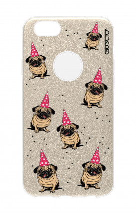 Cover GLITTER Apple iPhone 7Plus GLD - Pug Pattern