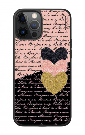 "Apple iPhone 12 6.7"" Two-Component Cover - Hearts on words"