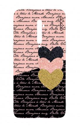 Cover TPU Oppo Reno 2Z - Scritte e Cuori rosa nero